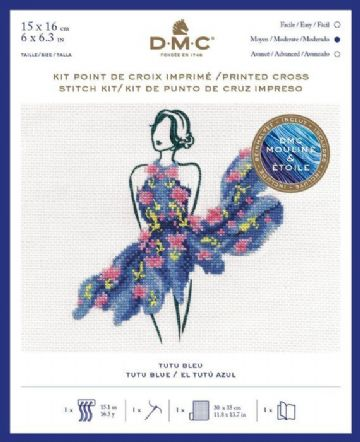 Tutu Blue Printed Cross Stitch Kit , BK1795